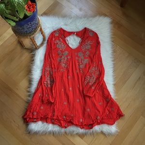 Free People open back embroidered dress